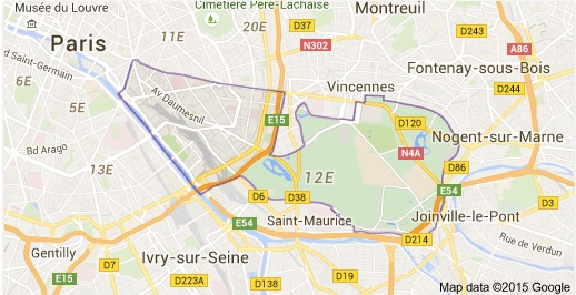 carte du 12ème arrondissement de Paris