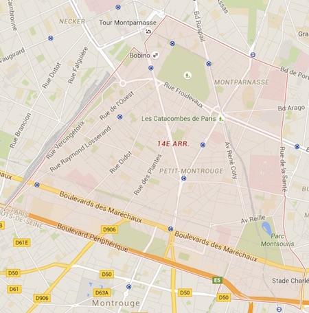 carte du 14ème arrondissement de Paris