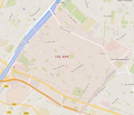 carte du 15ème arrondissement de Paris