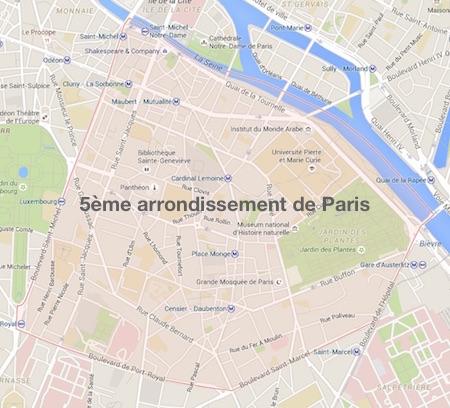 carte du 5ème arrondissement de Paris