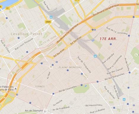 carte du 17ème arrondissement de Paris