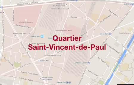 carte du quartier Saint-Vincent de Paul à Paris