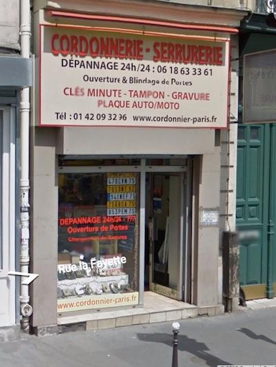 devanture de la serrurerie Tan à Paris