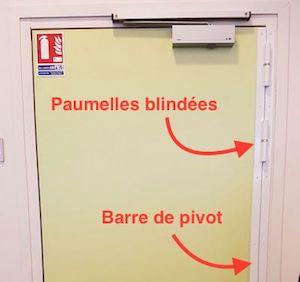 barre de pivot installée sur une porte
